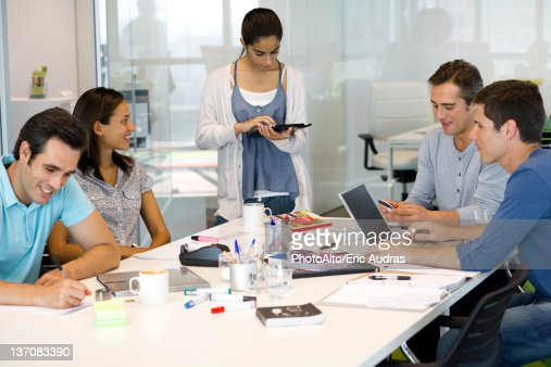 Business Associates In Casual Meeting Stock Photo Getty Images