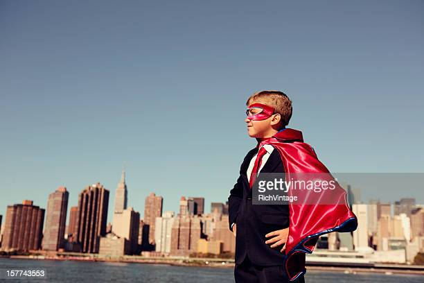 Business Boy Dressed In Superhero Costume in New York City