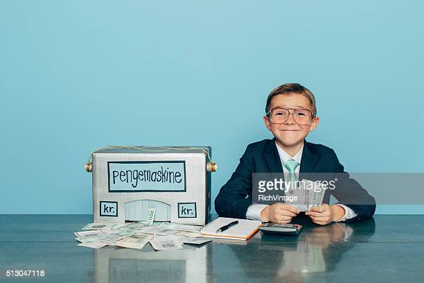 Business Boy Makes Danish Money with Money Machine