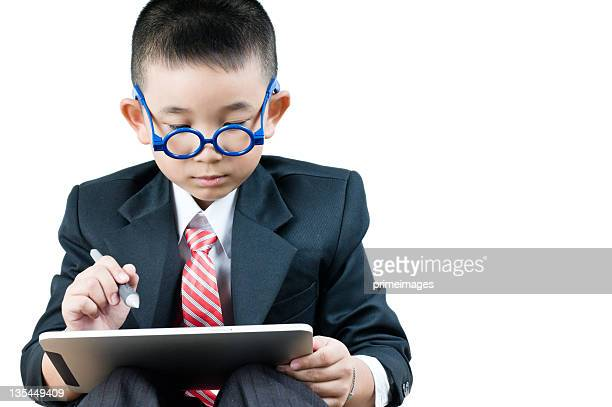 Business boy  with electronic tablet