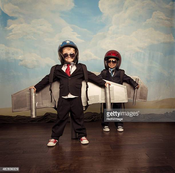 Business Boys Wearing Jetpacks on Stage