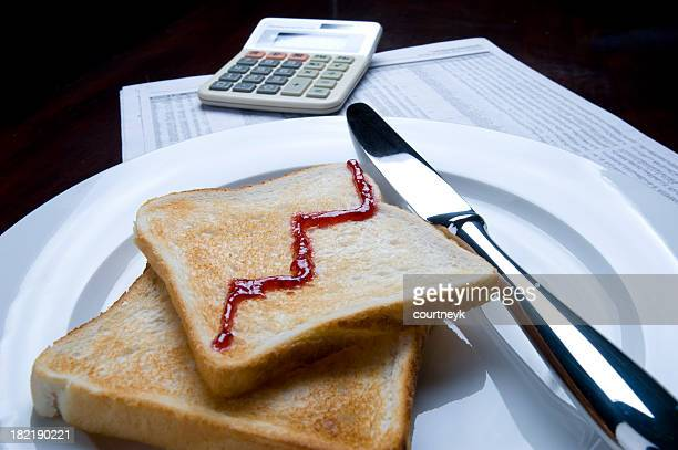 business breakfast concept with calculcator and toast