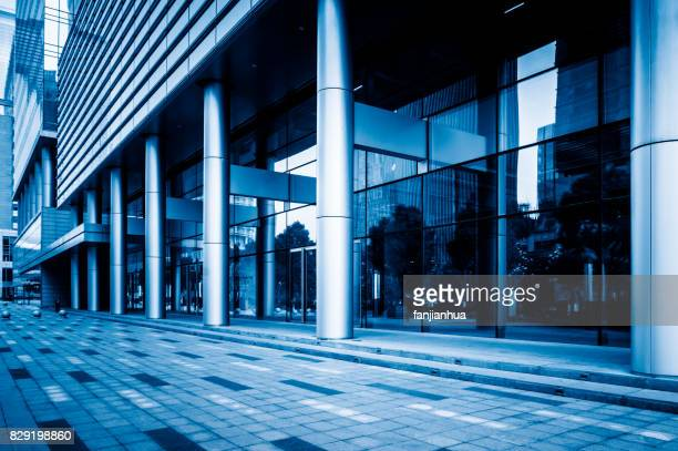 business buildings in Suzhou Jinfeng square,blue tone