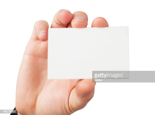 business card in causacian hand