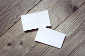 Business card template for branding identity on wood background