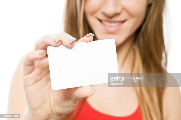 Business card - young smiling woman holding blank sign