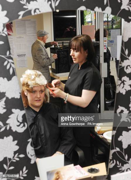 Business carries on as usual as constituents cast their votes in Hairline Salon Hull one of the more unusual polling stations in the country