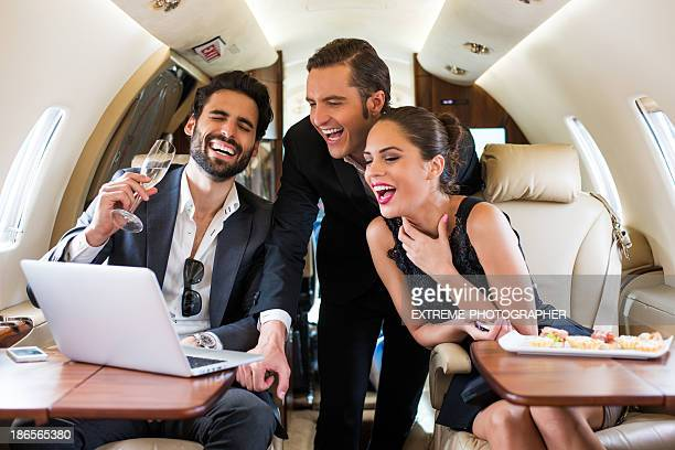 Business celebration in first class