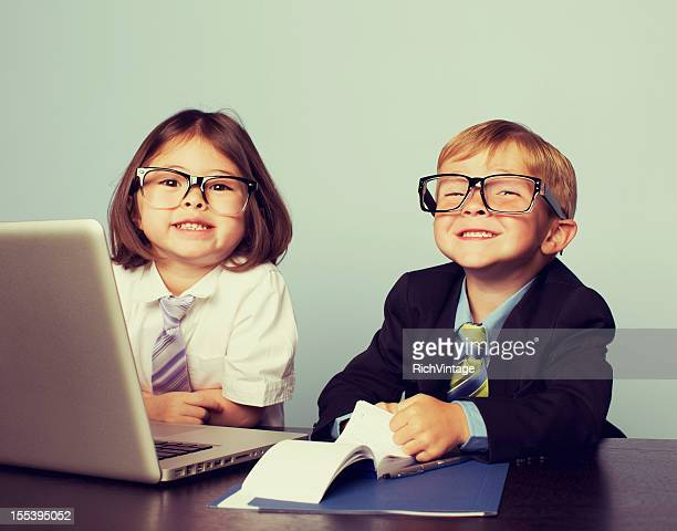 Business Children at Laptop in Office