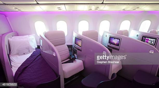 Business class berths which lieflat beds are pictured on an Air New Zealand Boeing 7879 Dreamliner July 9 2014 in Everett Washington The 7879...