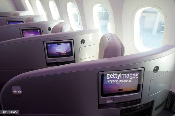Business class berths with lieflat beds on an Air New Zealand Boeing 7879 Dreamliner July 9 2014 in Everett Washington The 7879 Dreamliner was the...