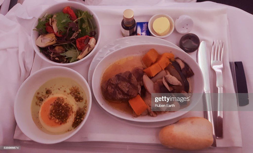 Business class meal : Stock Photo
