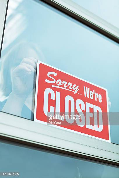 Business Closing with 'Sorry We're Closed' Sign Vt