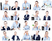 Business collage. Different businesswoman portraits on white