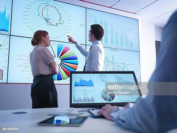 Business colleagues discussing graphs on screen in meeting room