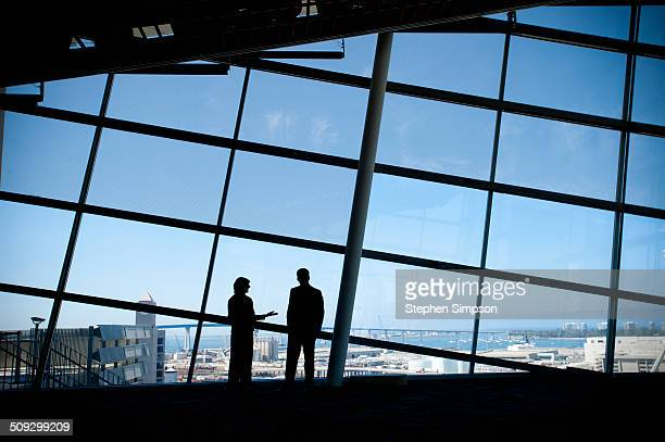 business colleagues in front of panoramic windows