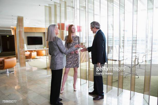 Business colleagues making introductions
