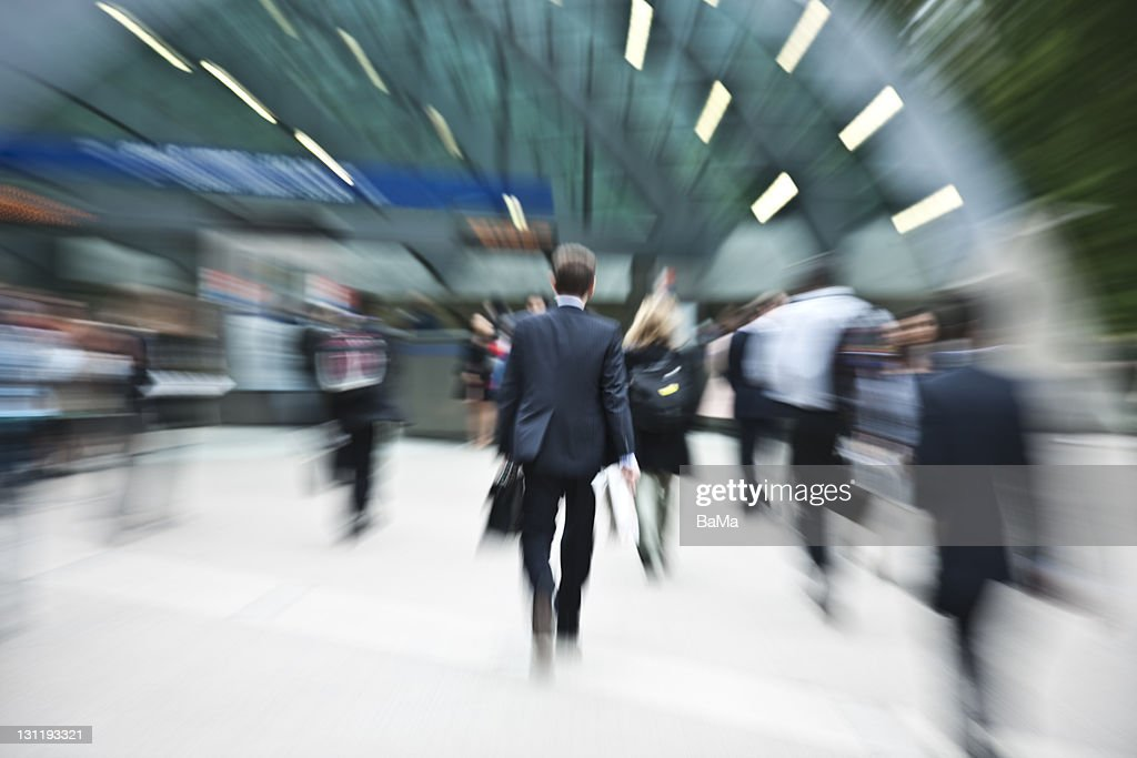 Business Commuters Entering Subway Station : Stock Photo