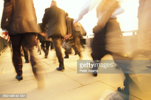Business commuters, rear view (blurred motion) : Stock Photo