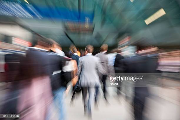 Business Commuters Rushing Towards Subway Station