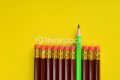 Business Concept Lot Of Same Pencils And One Different Pencil On