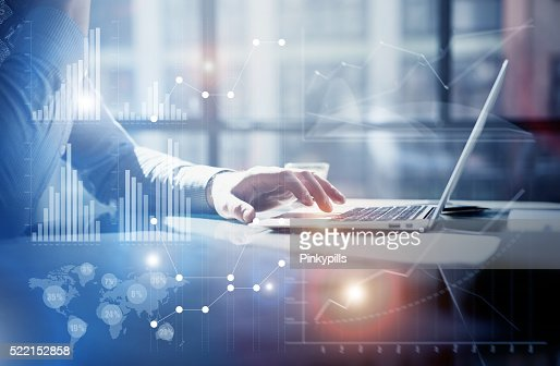 Business concept photo.Businessman working investment project modern office.Touching : Stock Photo