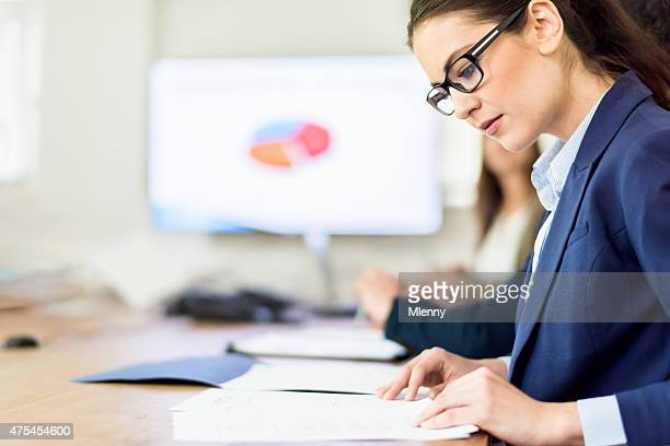 Business Conference Call Woman Analyzing Financial Figures