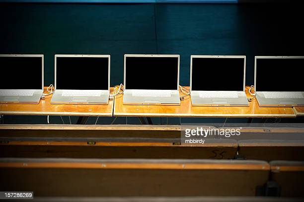 Business conference with laptops