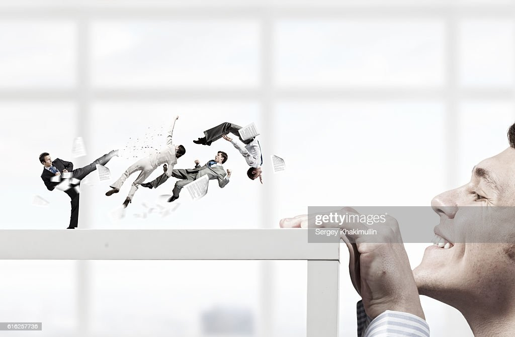 Business conflict and confrontation . Mixed media : Stock Photo