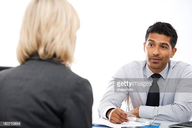 Business Consultation Man with Female Client