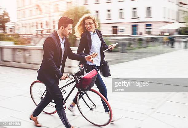 Business couple on the street