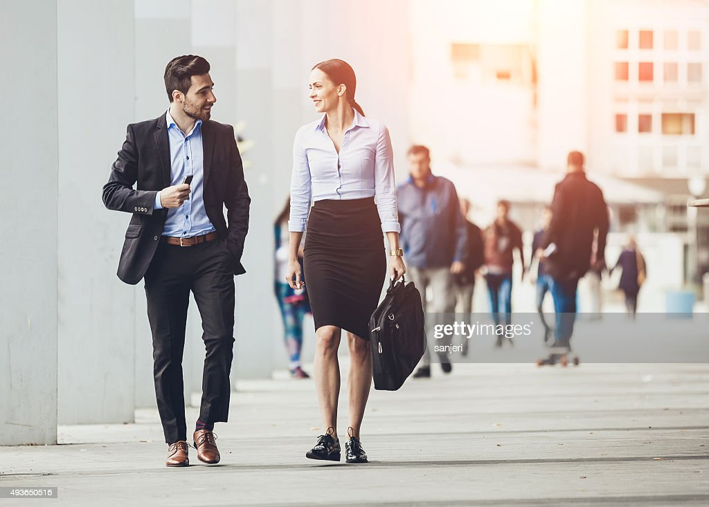 Business couple outdoors meeting : Stock Photo
