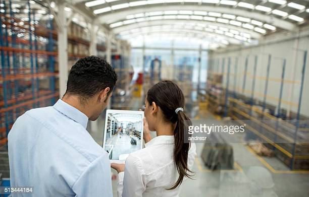 Business couple working on freight transportation