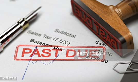 Business Debt Collection or Recovery. Unpaid Invoice : Stock Photo
