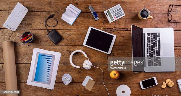 Business, desk, office utensils, top view, flat lay