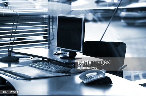 Business desktop pc, black and white : Stock Photo