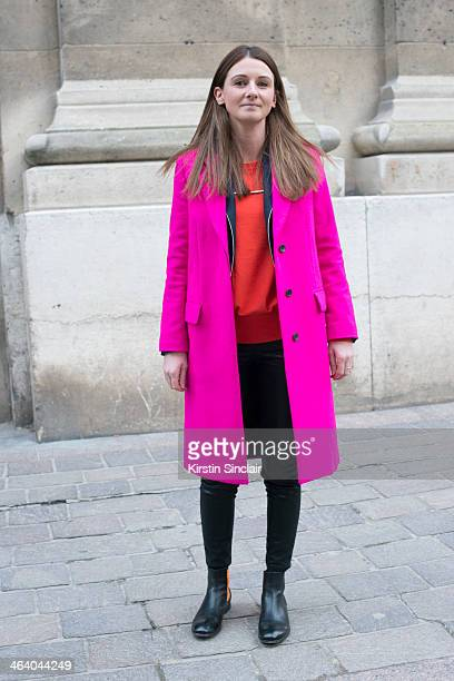 Business development manager for Paul Smith Suzy Commins wears a Paul Smith coat Cos sweater and All Saints trousers day 5 of Paris Mens Fashion Week...