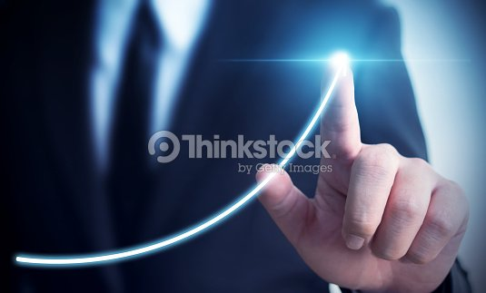 Business development to success and growing annual revenue growth concept, Businessman pointing arrow graph corporate future growth plan : Foto de stock