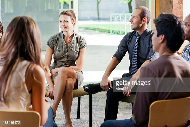 Business discussion in a cirle