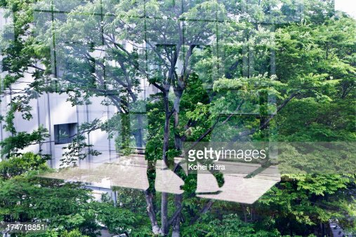 business district and green : Stock Photo