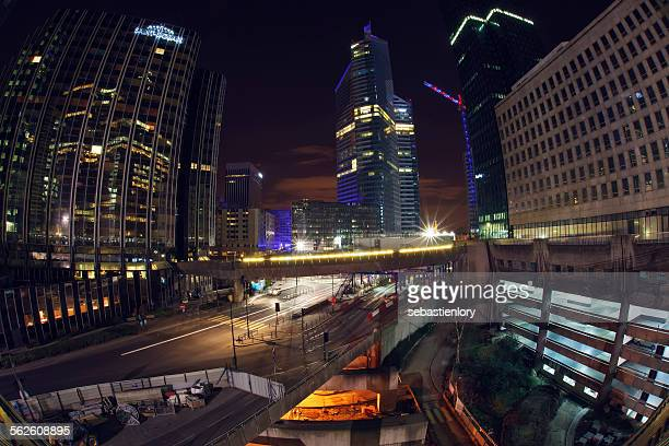Business district at night, Paris, France