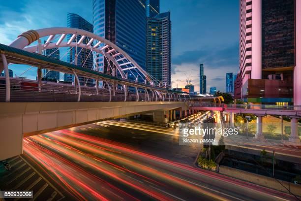 business district of Bangkok at night , Thailand , Asia