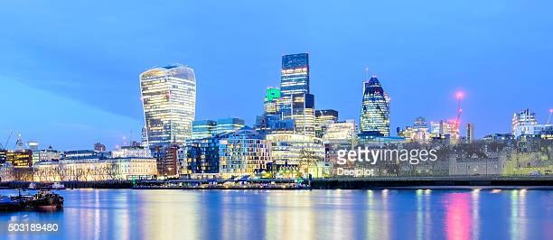Business District of the City of London Sunset Panorama