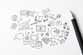 Hand drawn business doodles icons with black pen