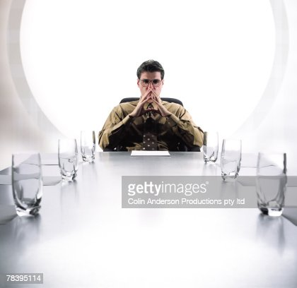 Business executive at conference table