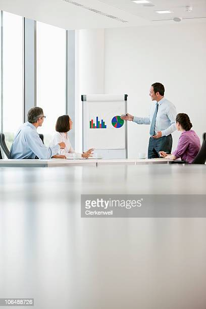 Business executive giving presentation to his colleagues at conference room
