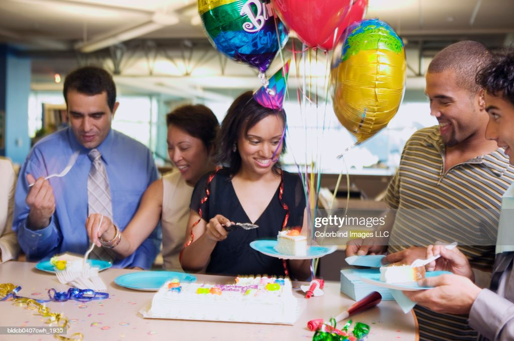 Business executives at an office party