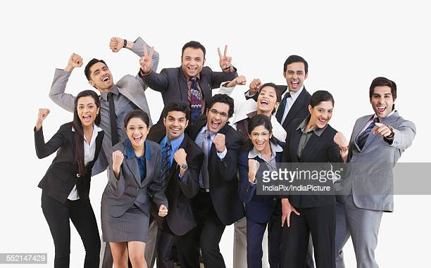 Business executives cheering