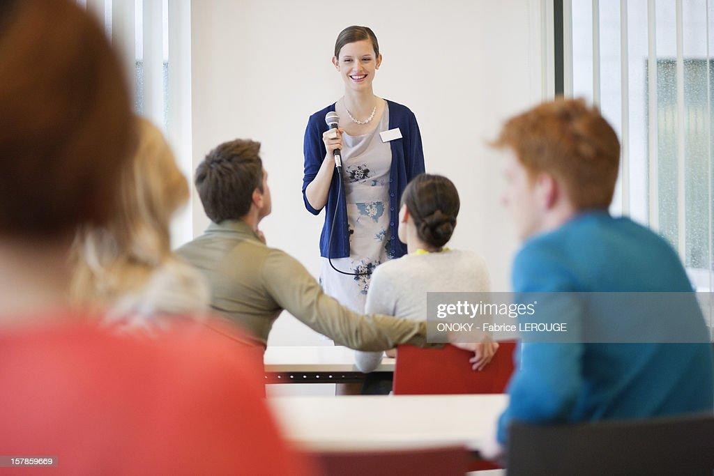 Business executives in a seminar