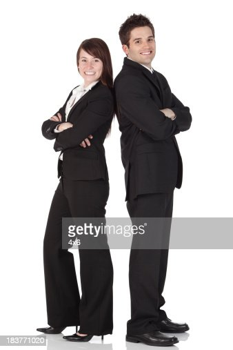 Business executives smiling